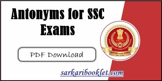 SSC Antonyms And Synonyms PDF Download