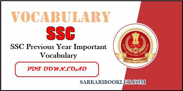 Photo of SSC Previous Year Vocabulary PDF in English Download