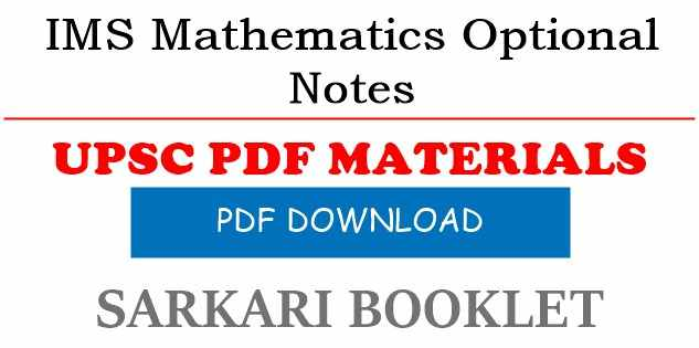 Photo of IMS Mathematics Optional Notes PDF